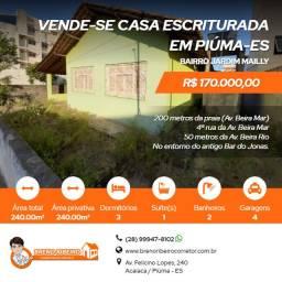 Vende-se casa - 240 m²- escriturado - Jardim Mailly- Piúma-ES