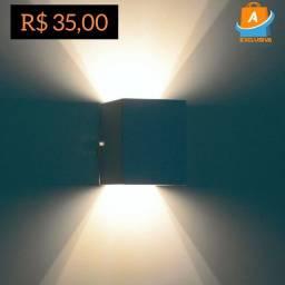Arandela Box dois Focos de Luz Marrom + Entrega Grátis