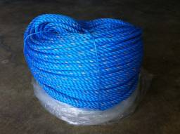 Corda cabo em polipropileno, três pernas, trançado, cor azul, 220 metros