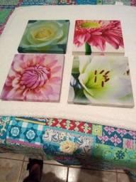 04 quadros 20x20 motivos florais