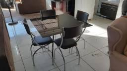 Mesa vidro 4 cadeiras base inox top (entrego )