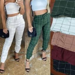Kit 5 Calça Jogger Feminina Elastano Xadrez Moda Blogueira