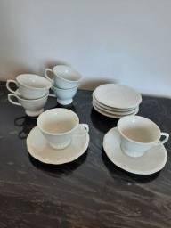 Título do anúncio: Conjunto louça branca chá/café Schmidt branca. Pires e xícaras - 6 pares.