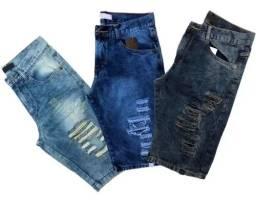 Bermuda Jeans Rasgada Masculina com Elastano (Lycra)