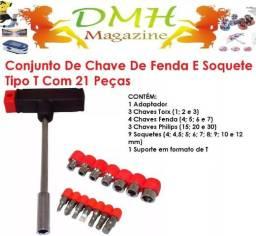 Conjunto De Chave De Fenda E Soquete Tipo T Com 21 Peças