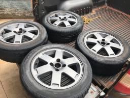 Jogo de rodas original aro 15 VW Crossover pneus 195/55-15