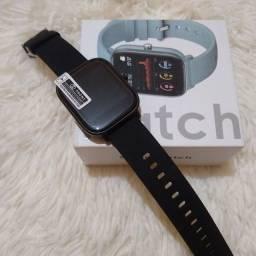 Smartwatch p8 preto com medidor cardíaco, medidor de pressão e etc....