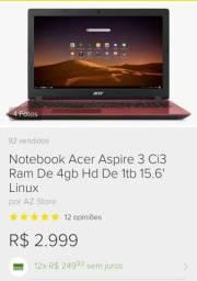 Notbook acer aspire ci3 1tb/aceito cartão/novinho