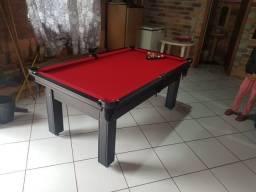Mesa de Sinuca 1,93 x 1,18 Tabaco Campo de jogo em Mdf Tecido Vermelho