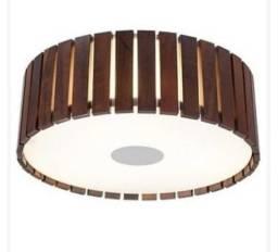 Luminária Rústica Plafon Redondo Madrelustre 2557 Madeira Colonial 34cm 2 Lamp