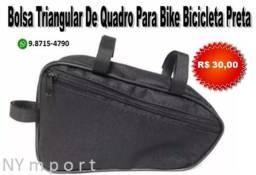 Bolsa Triangular De Quadro Para Bike Bicicleta Preta Em Poliéster