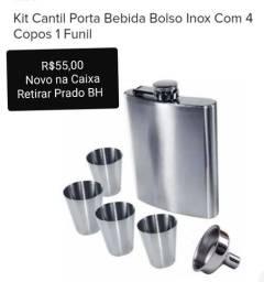 Título do anúncio: Kit porta bebida inox com 4 copos e 1 funil