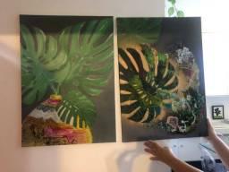 2 telas pintadas à mão