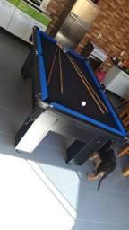 Mesa Charme de 4 Pés Cor Preta Tecido Preto e Borda Azul Mod. GHVI8349