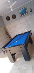 Mesa Charme de Bilhar Cor Preta Tecido Azul Mod. NWYT0705
