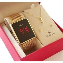 Relógio Digital Feminino Champion Dourado Quadrado + Kit Colar e Brincos