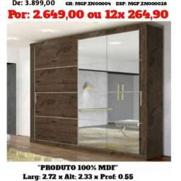 Guarda Roupa Casal Porta de Correr C/ Espelho em MDF-PGTO e Entrega Na Sua Casa
