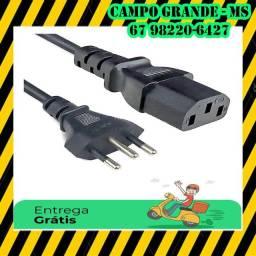 R$ 25 Cabo de energia para fonte de PC - Entrega Grátis em toda Campo Grande