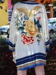 Farm - Kimono Branco / Azul Coleção Selva Flora