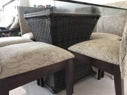 Mesa jantar, seis cadeiras 1,40x1,40m vidro 10mm