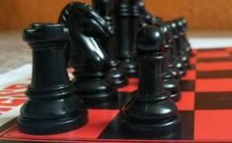 Jogo de Xadrez e Damas com todas as peças em ótimo estado