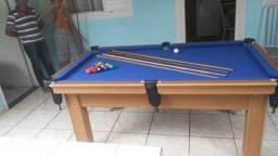 Mesa de Sinuca Verniz Cerejeira 1,93 x 1,18 Campo de jogo em Mdf Tecido Azul