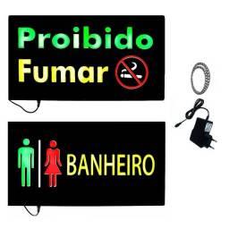 Painel de Led Letreiro Luminoso Banheiro ou Proibido Fumar