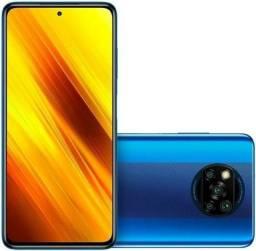 """Celular Xiaomi Poco X3 128gb / 6gb ram / 4G / Dual / Tela 6.67"""" / Câm 64MP / NFC - Azul"""