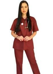Conjunto Pijama Cirúrgico Marsala Unissex