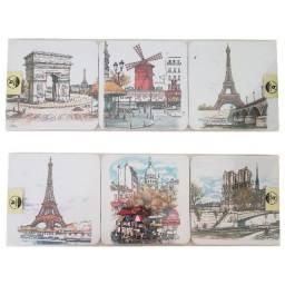 Porta Copos Cortiça com 6un Importado Paris França