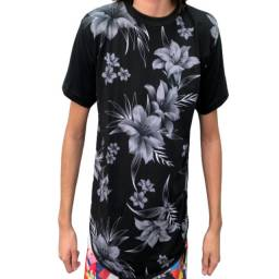 Kit 5 Camisa Blusa Masculina Longline Floral Swag Regata