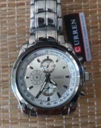 Relógio Prateado Masculino original Curren