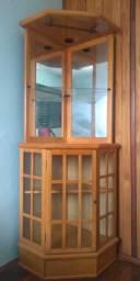 Bar de canto e Cristaleira para sala em madeira bege