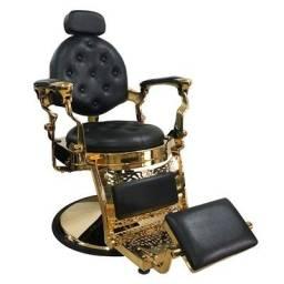 Cadeira de Barbeiro Reclinável Lord Gold - Pronta Entrega