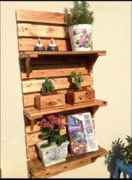 10 - Porta vaso ou prateleira, decorativa, rústica, feito de madeira de paletes