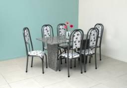 Mesa de Jantar de 06 cadeiras granito Conjunto Estone - Frete grátis!!!