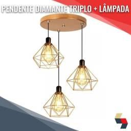 Pendente Aramado Diamante Triplo + Lâmpada LED Retrô