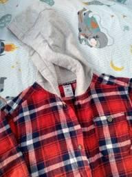 Título do anúncio: Carter's Camisa/Blusa social flanelada xadrez c/ capuz manga comprida 4 anos Menino Menina