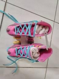 Patins 4 rodas tradicional roller rosa cadarço tipo luna asa