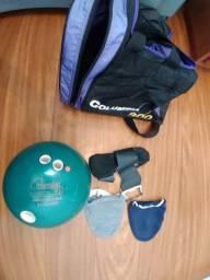 Bola de boliche com bolsa e assessórios