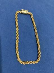 Pulseira cordão Baiano feita de Moeda antiga banhada a Ouro