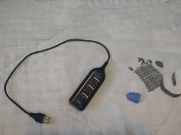 Hub USB 4 portas e cabo OTG