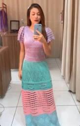 Vestido de tricô longo