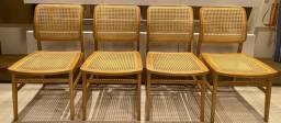 Jogo de 4 cadeiras de palhinha moderna - novíssimas
