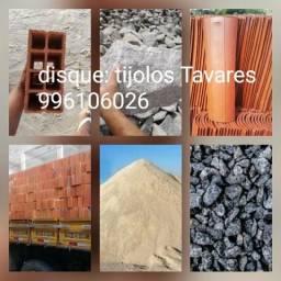 Tijolos Tavares , telhas, Areia grossa, arisco, pedra, brita