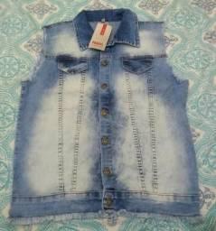 Colete jeans novo feminino