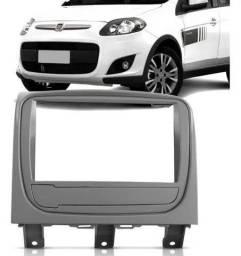 Moldura 2 Din Fiat Palio Way 2014 a 2016 - Prata 2963 (Fiamon)