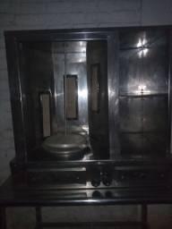 Máquina de churrasquinho grego + mesa de aço inox
