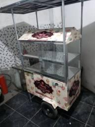Carrinho lindo inox vidros temperados de bolo doces