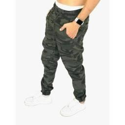 Kit 3 Calças Jeans Bege Camuflada Masculina Jogger C/ Punho Elastico
